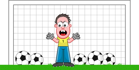 Cartoon Goalkeeper Angry