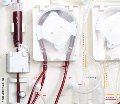 hemodialysis machine at work. Close-up photo.