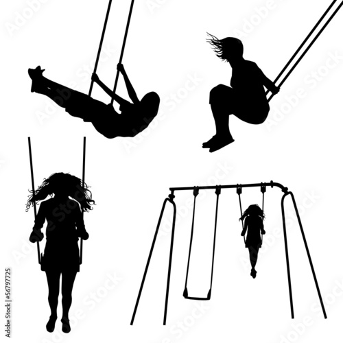 Girl on a swing silhouettes