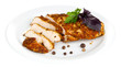 Roasted chicken fillets on white plate, isolated on white