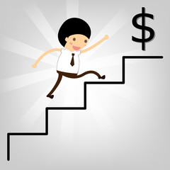 business concept. Man stepping up a staircase to success Dollars