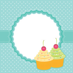 Card with cupcakes. Vector illustration