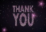 3d graphic of a glowing thank you symbol of glamour stars