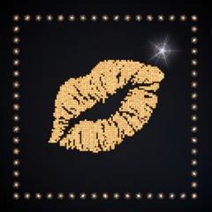 3d graphic of a magic kiss symbol glittering golden