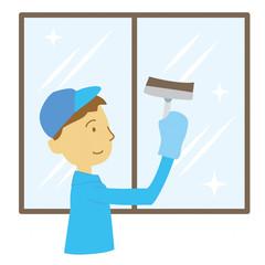 窓ふき 作業員