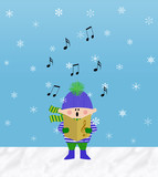 Little Boy Singing in the Snow