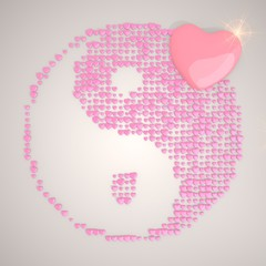 3d render of a tender ying yang symbol made of many hearts