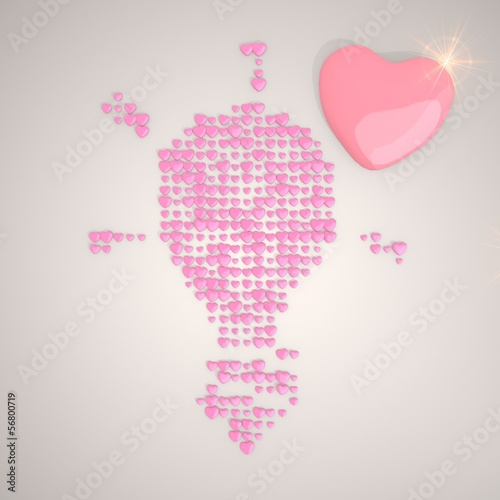 3d render of a tender idea symbol made of many hearts