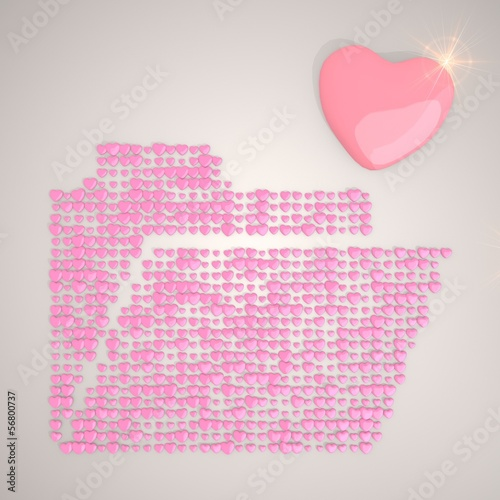 Illustration of a sorted folder symbol made of many hearts