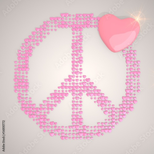 Illustration of a peacefully peace symbol made of many hearts