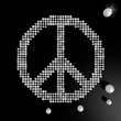 3d graphic of a harmful peace symbol made of many spheres