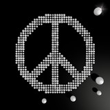 3d graphic of a harmful peace symbol made of many spheres poster