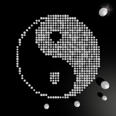 3d render of a harmonious ying yang symbol made of many spheres