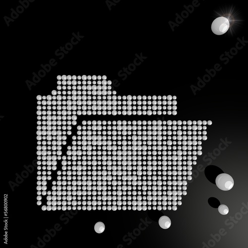 3d render of a regular folder symbol made of many spheres