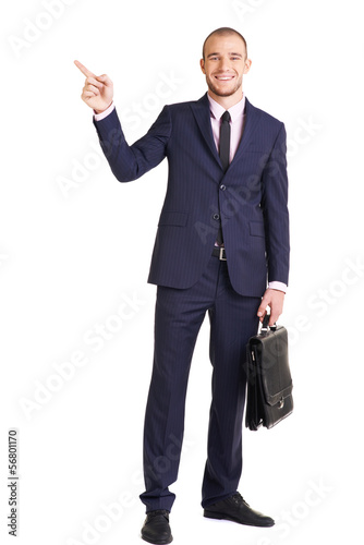 Businessman showing direction