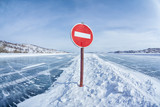 Traffic sign on Baikal ice poster