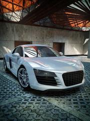 luxury sport car indoor 3d illustration
