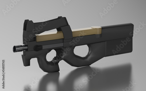 Belgium submachine gun design by 3D graphic
