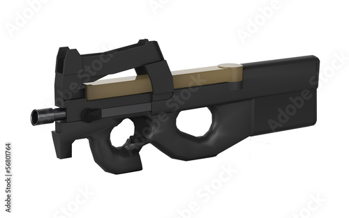 Belgium submachine gun design by 3D graphic in isolation