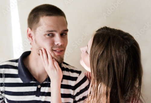 dissatisfied man does not want to look at a woman