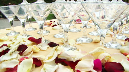 Table with glasses decorated for wedding
