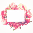 Blank card and rose with retro filter effect