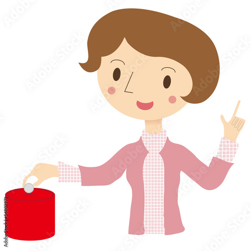 箱に小銭を入れる女性