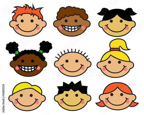 Cartoon children's faces different nationalities
