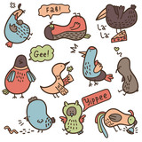 Vector set of baby doodle birds with some their habits