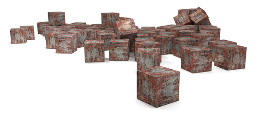 Many rusty cubes
