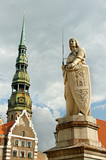 The statue of Roland and the Church of St. Peter in Riga, Latvia