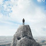 businessman standing on a peak
