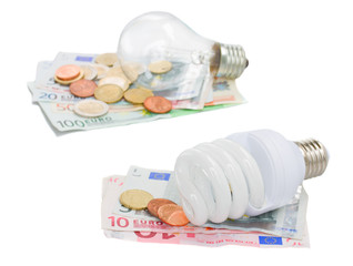 energy saving and normal   bulbs on euro