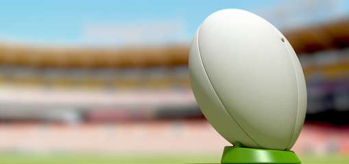 Rugby Ball In A Stadium Daytime