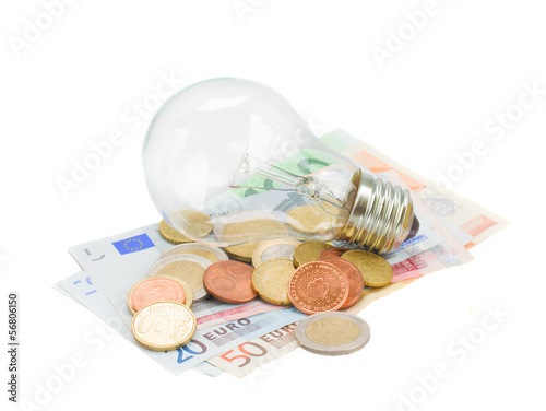 common lamp bulb on euro money