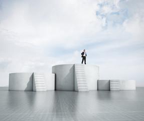 man standing on highest podium