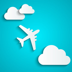 Paper background with airplane and clouds