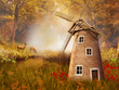 Jesienny krajobraz z wiatrakiem i sarnami