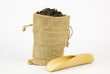 Chinese tea leaves in  sackcloth