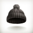 Knitted black cap, vector illustration