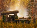Ruiny i starożytne kamienie na jesiennej łące
