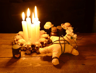 Pierced voodoo doll with love poion bottles 2
