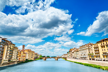 Florence, bridge and Arno river