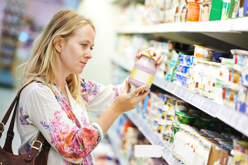 woman at milk dairy shopping