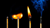 life of matches: new, igniting, burning and extinguishing