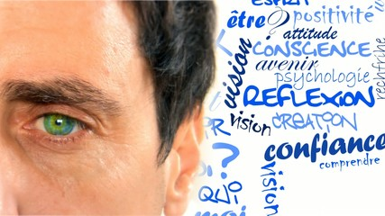 Réflexion psychologie oeil visage homme blanc mots animation