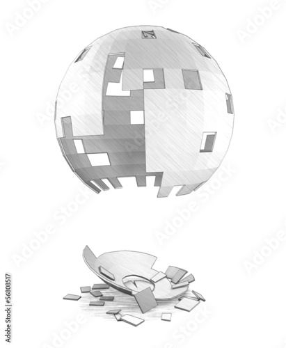 An imitaion of pencil drawing of old destroyed sphere