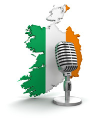 Microphone and Ireland (clipping path included)