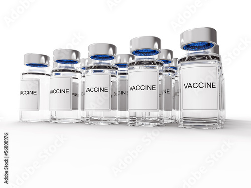 Vaccine  bottles on white background