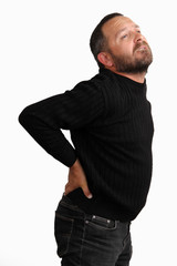 Young man has back pain